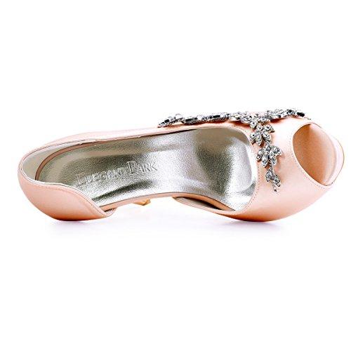 Elegantpark Ep11045-ip Plataforma Peep Toe Plataforma Mujer Zapatos Dorsay Arco Rhinestone Boda Satén Blush
