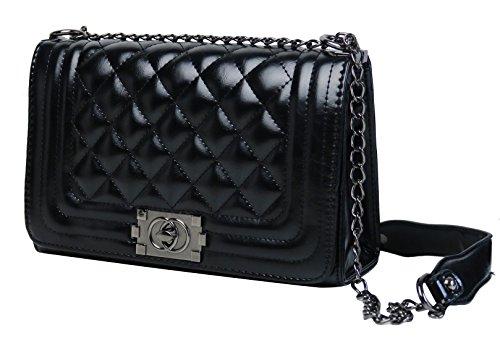 Sassyclassy Designer Handtasche mit Rautenstepp aus PU-Leder by Elegante & Klassische Damen-Umhängetasche | Chain-Bag Schwarz mit Träger in Anthrazit | Tasche Rautenmuster abgesteppt