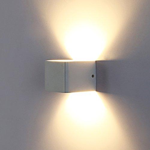 Topmo Applique da parete a LED bianco caldo 2700 lampada da parete di Kelvin qualità 7w alluminio lampada corridoio Su e Giù design [Classe energetica A +] (7 Watts)