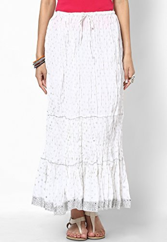 Soundarya Women Cotton Skirts -White -Free Size