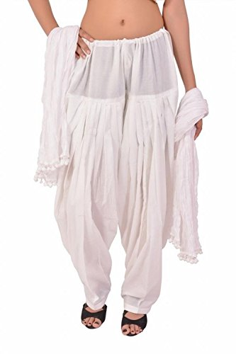 Stylenmart Women's Cotton Semi Patiala Pants with Dupatta Set (STMASEPA078611_White_Free Size)
