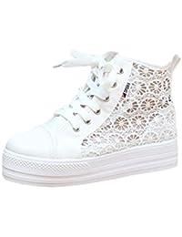 dc3c9b96bb2d78 Sunnywill Sneaker Sneakers Damen High-Top Atmungsaktiv Ausschnitte Lace  Canvas Hollow Floral Plateau Flache Schuhe Fitnessschuhe…