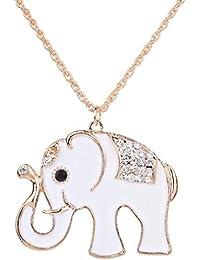 Yaizlind Colgante, collar de Vogue oro del tono diamante de imitación embutido elefante blanco cadena para las mujeres