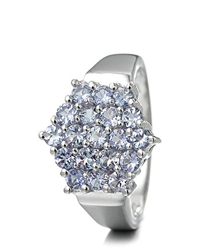 Silvancé - Damen Ring - 925 Silber, rhodiniert - echter Edelstein: Tansanit ca. 1.26ct. - R1312TAN / Gr. 57 (18.1)