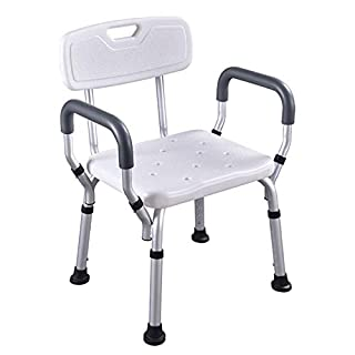 HENGMEI Shower Chair Shower Stool Shower Bench with Adjustable Back and Armrest Height Adjustable Bathing Aid for Elderly