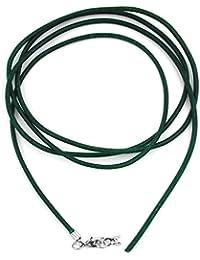 Unbespielt en cuir chaine collier pour pendentif vert pour femme homme enfant mousqueton fermoir couleur argent longueur 1 m raccourci largeur 2 mm