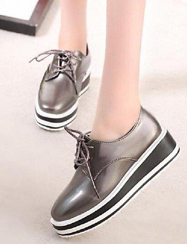 ZQ hug Scarpe Donna-Sneakers alla moda-Tempo libero / Casual-Comoda / Punta squadrata-Zeppa-Finta pelle-Nero / Argento , silver-us8 / eu39 / uk6 / cn39 , silver-us8 / eu39 / uk6 / cn39 silver-us6 / eu36 / uk4 / cn36