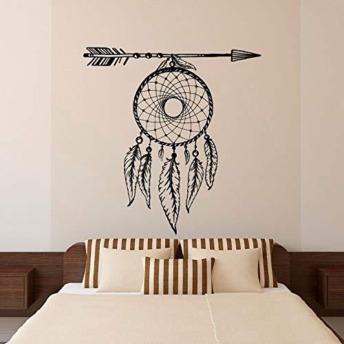 Flecha Plumas atrapasueños Tatuajes de Pared vinilos Decorativos Sala de Estar Dormitorio murales Bohemios 57 * 60 cm