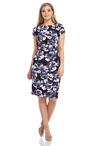 4a2218aa9fc26 Roman Originals - Robe Simple Imprimé à Fleurs Plissé - Femme - Marine -  Taille 46