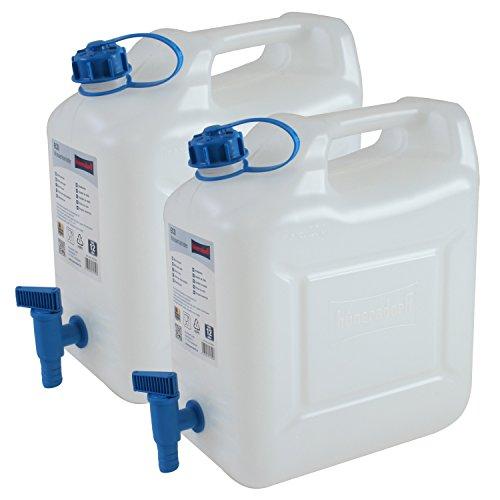 2er Set Hünersdorff Wasserkanister 12 Liter in Natur mit blauen Hahn zum Ausgießen