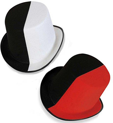 Rot, Schwarz, Hut Weiß, (Hut Zylinder zweifarbig Größe 58 cm schwarz-weiß schwarz-rot Kopfbedeckung (schwarz-weiß))