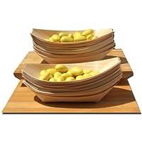 Gifts Of The Orient GOTO® - Bambú Madera Barcos Midi X 100 Para Fiesta Alimentos, Snacks, Bocadillos, Canapé 175X85Mm