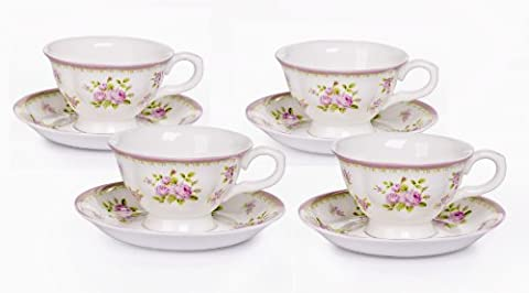 Set of 4 Vintage Rose Bone China Cups and Saucers
