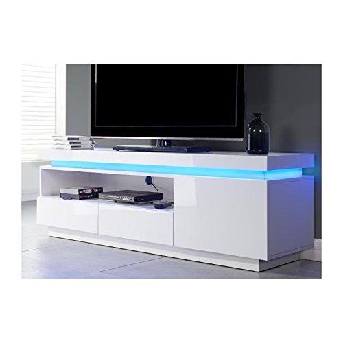 FLASH Meuble TV avec LED bleu 150 cm - Laqué blanc brillant