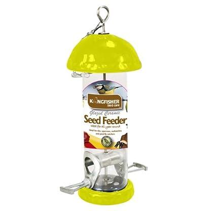Kingfisher BFC2 Glazed Ceramic Bird Seed Feeder - Yellow 1