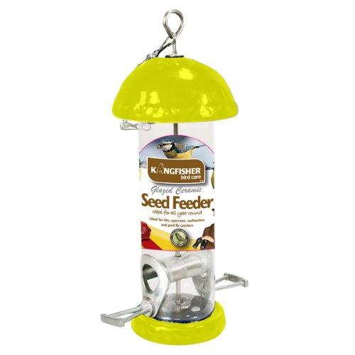 Kingfisher Open Ohr glasierter Keramik Bird Seed Feeder-Gelb (Bird Seed Feeder-kuchen)