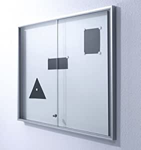Schaukasten, Innen, BxTxH 1970x35x970 mm, 27xDIN A 4, Alurahmen, Schiebetüren, ESG-Glas, Zylinderschl