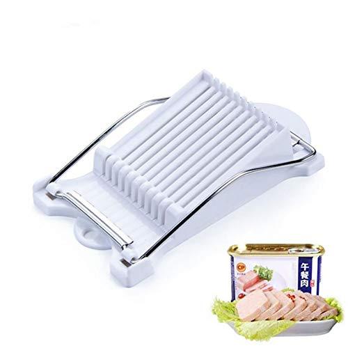 Especificación:Material: acero inoxidable ABS + 304Color blancoTamaño: 22x12.5x5cmPeso: 193gUso: Adecuado para alimentos blandos como frutas, huevos, fiambres, sushi, etc.Instrucciones:1. Preparar los ingredientes a cortar.2. Coloque los ingredientes...