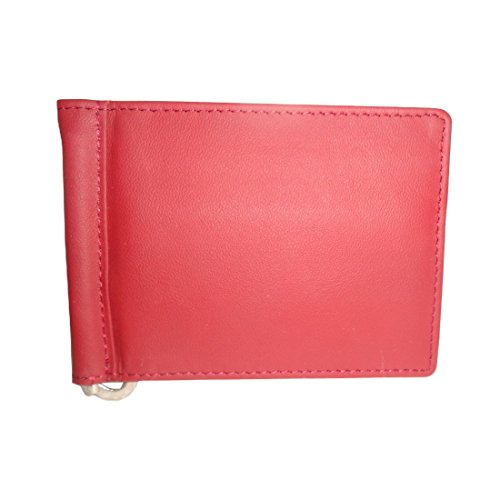 Style98 Red Genuine Leather Money Clip Wallet Cum Credit Card holder For Men and Boys