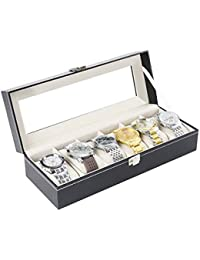 Caja de Relojes Estuche para Relojes y joyeros con 6 Compartimentos