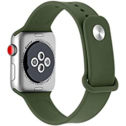 KKSY Bracelet de Montre Silicone Couleur Unie pour iWatch/Apple Watch Série 4 Série 3 Série 2 Série Bracelet Apple Watch Compatible 44mm et 38mm,B,44/42mm