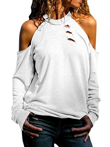 Minetom Damen Tops Langarmshirt Schulterfrei Rundhals Lose T-Shirt Sexy Oberteil Blusen Damen Off Shoulder Top Herbst Winter Einfarbig Casual Pullover Hemd Weiß DE 44 -