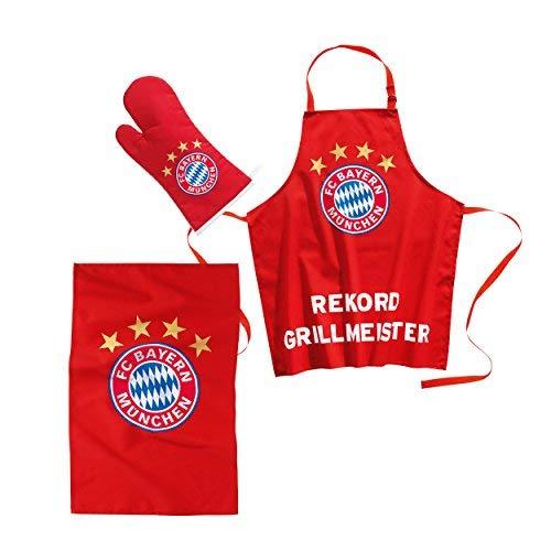 FC Bayern GrillSet 3 TLG. SchürzeGrillhandschuhGeschirrtuch r