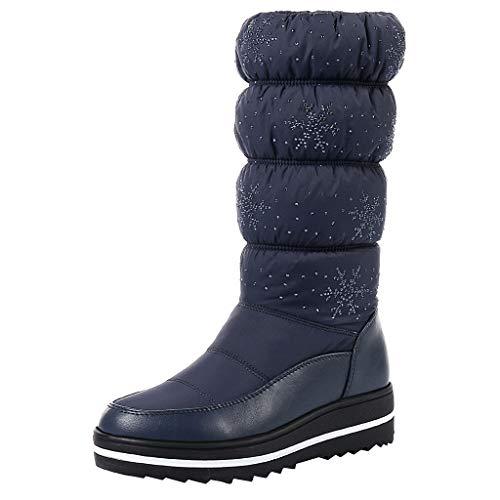 NINGSANJIN Unisex Damen Herren Worker Boots Übergrößen Warm Gefüttert (Blau,43)