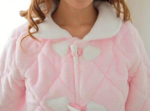 Autunno E Inverno Donne Warm Thicken Fianaglia Pigiama Home Abiti Suit Pink