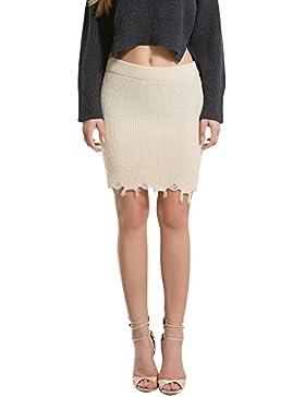 Mujer Elegante Personalidad Ante Cintura Alta Moda Corto Skirt Cómodo Cálido Falda de punto