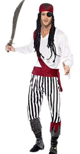 Kostüm Marine Jack Pirat - erdbeerloft - Herren Pirat, Seeräuber Kostüm, Karneval, Fasching, M, Mehrfarbig
