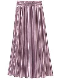 617d947ae44574 ZhuiKun Gonna Lunga Plissettata a Vita Alta Elastico Maxi Gonne Elegante da  Donna Pink