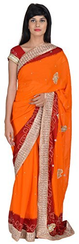 tanishq-designers-womens-georgette-saree-red-and-orange