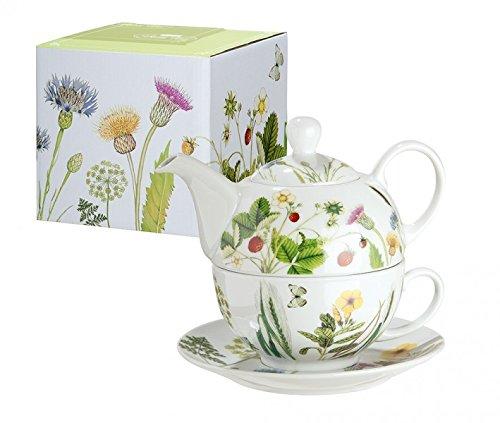 Gilde Tasse avec théière en porcelaine avec fleurs et papillons décor Wild Flowers