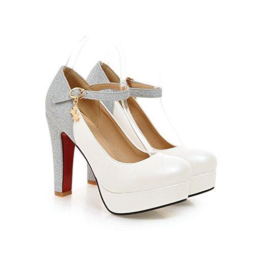 AgooLar Femme à Talon Haut Couleur Unie Boucle Matière Souple Rond Chaussures Légeres Blanc