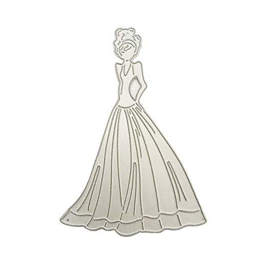 periwinkLuQ Stanzform für Fotoalbum, für langes Kleid, für Damen, silberfarben