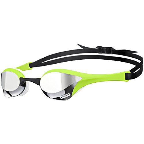 arena Unisex Wettkampf Profi Schwimmbrille Cobra Ultra Mirror (Verspiegelt, UV-Schutz, Anti-Fog Beschichtung), Silver-Green-White (66), One Size