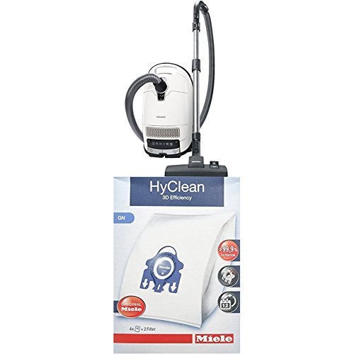 Miele S 8340 PowerLine Staubsauger, 4.5 L, 890 W + 9917730 Staubbeutel HyClean 3D, Inhalt: 4 Staubbeutel, 1 Air Clean Abluftfilter für saubere Raumlauft, 1 Motorschutzfilter, blau