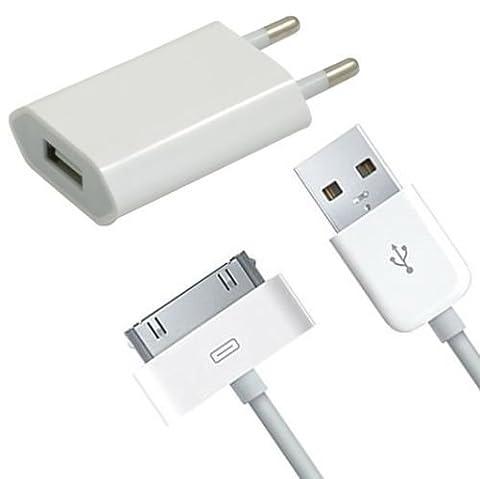 OKCS Câble de chargement et Chargeur Sync Data USB pour Apple iPhone 4/4S, iPhone 3G/3GS, iPad 1/2/3, iPod et autre - 30 Pin, 1m Blanc