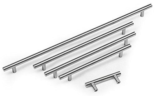 Hausen - Schrankgriffe - ideal für Küchenschränke - Steggriff - gebürsteter Edelstahl - 64 bis 640 mm - 640mm