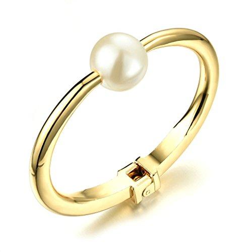 Adisaer Metalllegierung Armband Damen Gold Runde Perlen White Armreifen (Kostüme Cleopatra White)