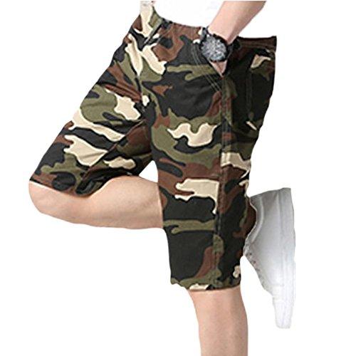 Herren Jogginghose Shorts Camouflage Strandhose GreatestPAK,Khaki,XL