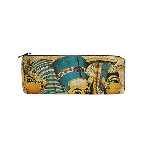 BIGJOKE Federmäppchen, antikes ägyptisches Muster, Federmäppchen mit Reißverschluss, Tasche für Make-up-Pinsel für Mädchen, Kinder, Schule, Studenten, Schreibwaren, Bürobedarf
