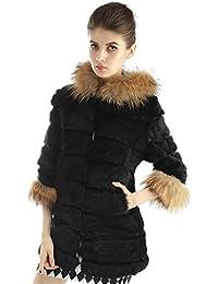 """Bellerfur Abrigo de piel de conejo de las muchachas naturales """"cuello con capucha de piel de mapache"""