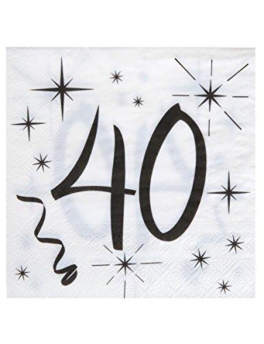 20 weiße Servietten zum 40. Geburtstag (Servietten Weiße Dicke,)