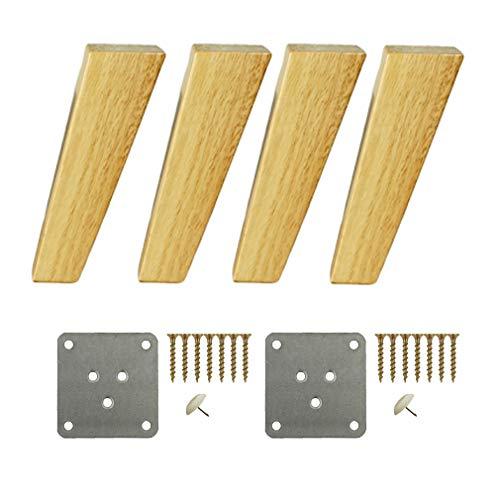 4x quadratische Sofafüße Schrankfüße aus massivem Holz, schräge Möbelfüße Möbelbeine,Füße für Fernsehmöbel, Füße für Tischbeine aus Holz, für Couchfüße Kommode (7inch/18cm)