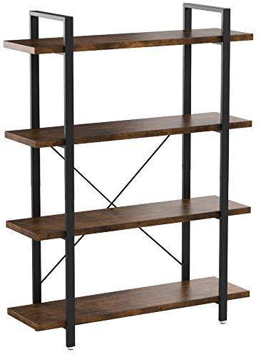 VASAGLE Bücherregal, stabiles Standregal mit 4 Regalebenen, Wohnzimmerregal im Industrie-Design, einfacher Aufbau, Wohnzimmer, Schlafzimmer, Büro, Vintage LLS54BX