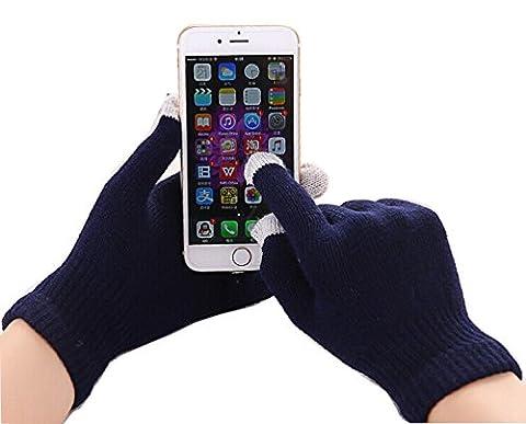 Fone-Case Huawei P8lite ALE-L04 (Navy Blue) Touchscreen-Handschuhe mit versilberten Nylonfaser-Spitzen