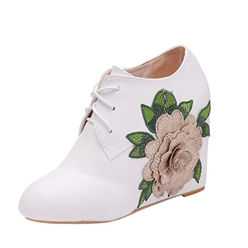 Oksea Damen Satin Spitze Blockabtz Ankle Stiefelette Hochzeit Bequeme Brautstiefel Fabulicious Stiefel Blume Ankle Booties mit Spitze Victorian -