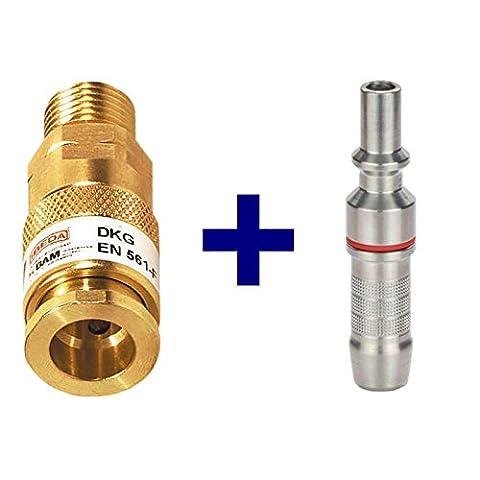 Ibeda DKG Gas-Schnellkupplung mit Außengewinde im SET mit D2 Kupplungsstift mit Anschluss-Tülle für Brenngas G3/8 LH, Sauerstoff 1/4 RH, Inertgas G 1/4' RH, Ausführung:Sauerstoff G 1/4'' RH, Typ:Sauerstoff 6.3 mm (Rh Außengewinde)